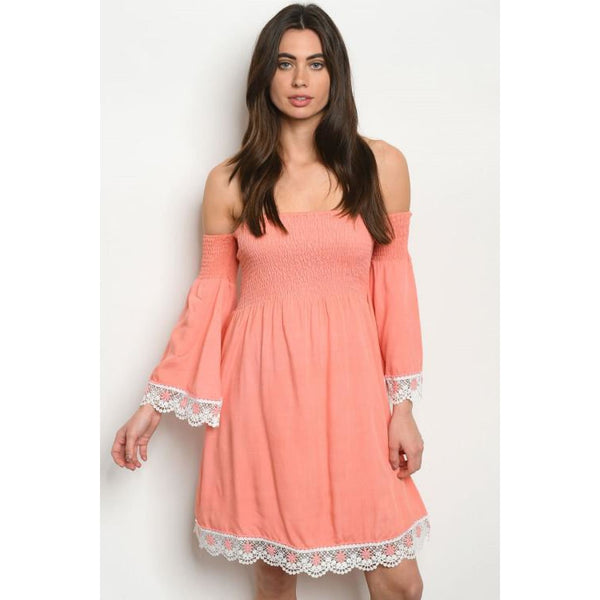 Coral Off Shoulder Tunic Dress - DRESSES