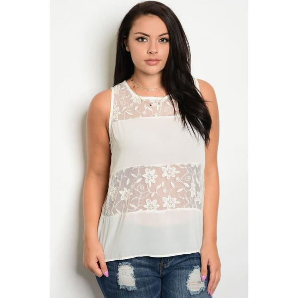 Creamy Beige Lace Top Size 14 - Best YOU by HTS