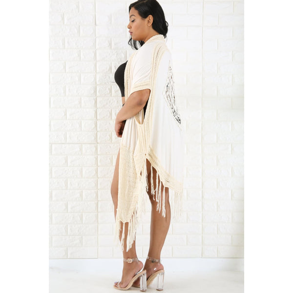 Crochet Trim Kimono - Cream - Accessories
