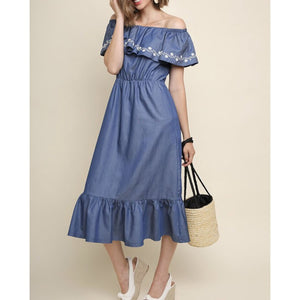 Denim Off Shoulder Ruffle Dress - Best YOU by HTS