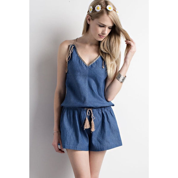 Denim Romper with Tassel - Best YOU by HTS