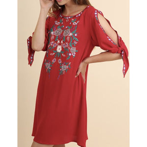 Embroidered Dress with Open Tied Sleeves - Best YOU by HTS