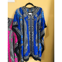 Ethnic Caftan Top - Blue/Black - TOPS