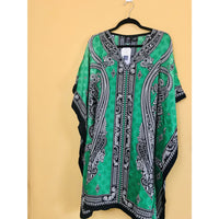 Ethnic Caftan Top - Green/Black - TOPS