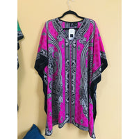 Ethnic Caftan Top - Pink/Black - TOPS