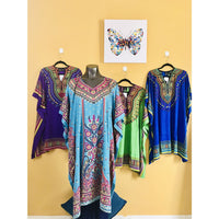 Ethnic Caftan Top - Sky Blue Dress - TOPS