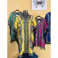 Ethnic Caftan Top - Yellow/Black - TOPS