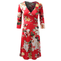 Flower Red Plus Size Dress - DRESSES