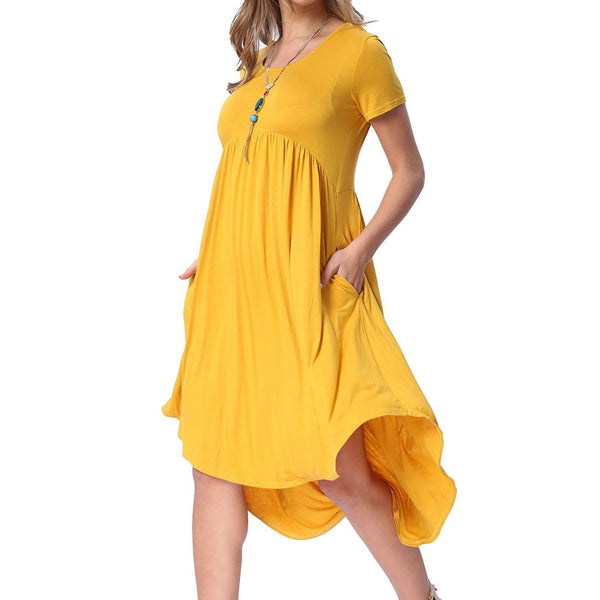 Golden Yellow Casual Swing Dress - DRESSES