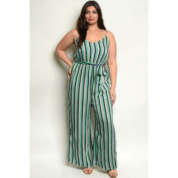 Green Stripes Plus Jumpsuit - Best YOU by HTS