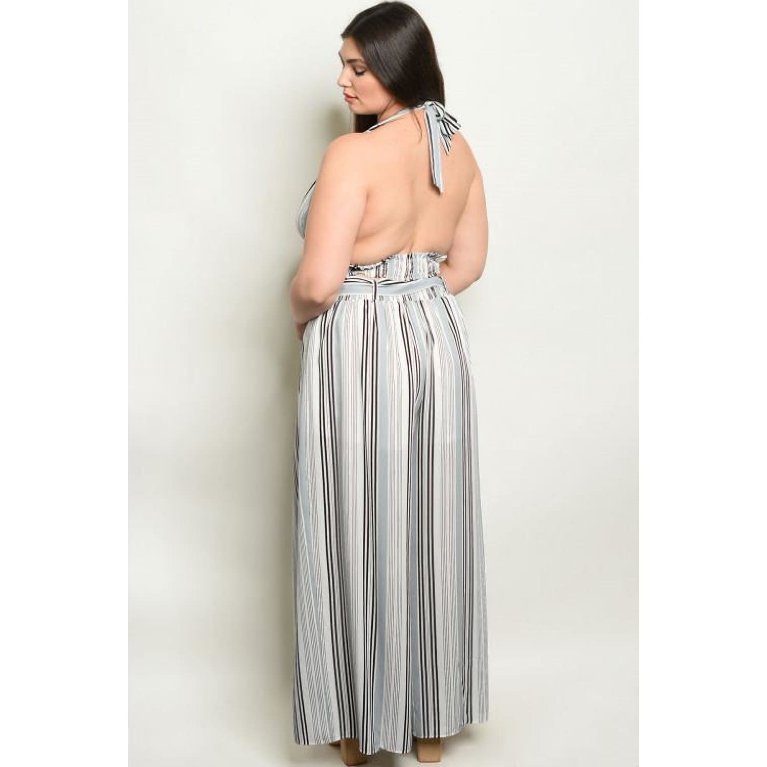 Grey Stripes Plus Pants Set - Best YOU by HTS