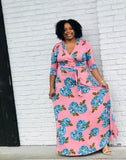 Pink Floral Plus Maxi Dress Best YOU by HTS DRESSES