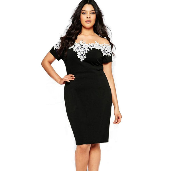Lace Crochet Off Shoulder Black Plus Size Pencil Dress 14W - Best YOU by HTS