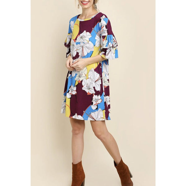 Layered Ruffle Sleeve Print Dress - Best YOU by HTS