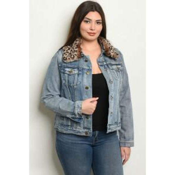 Leopard Fur Collar Denim Jacket - TOPS