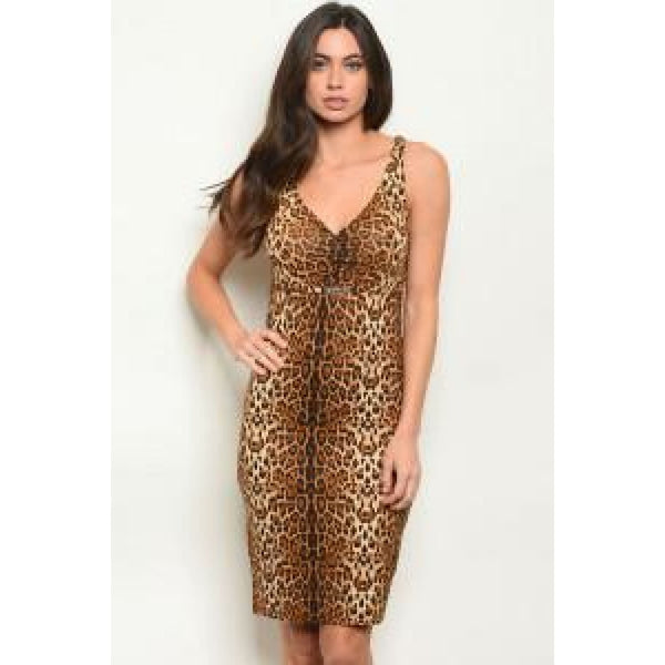 Leopard Print Pencil Dress - DRESSES