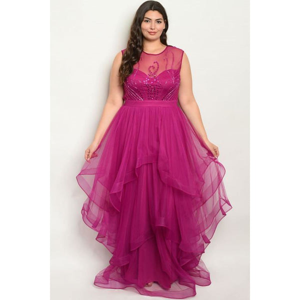 Magenta Maxi Dress Plus Evening Gown - DRESSES