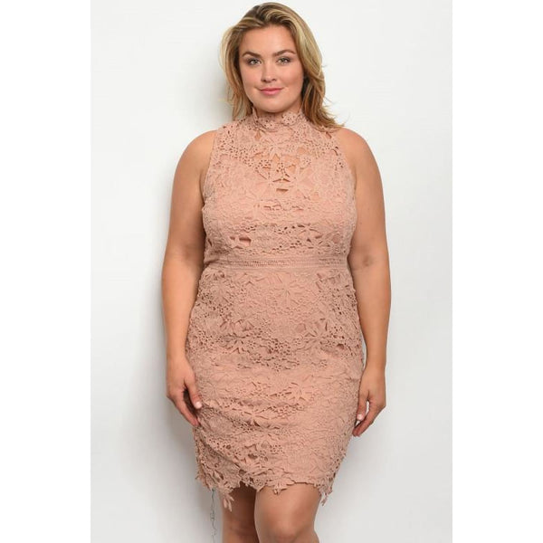 Mauve Lace Dress Plus - DRESSES