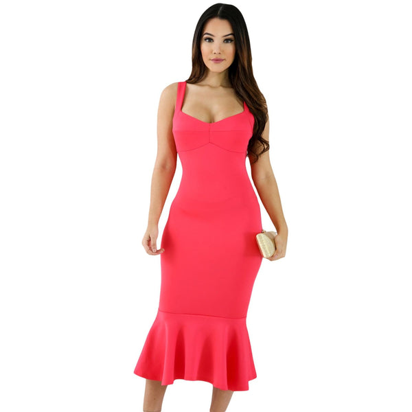 Mermaid Bodycon Dress - Neon Coral - DRESSES