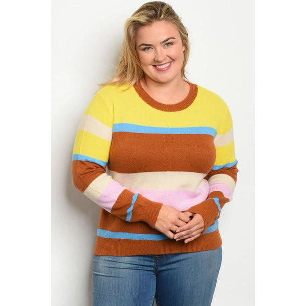 Multi Stripe Plus Sweater Top - TOPS