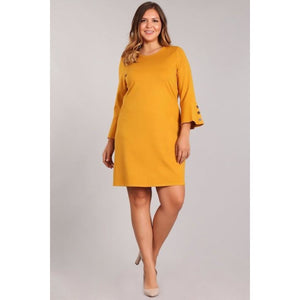 Mustard Bell Shift Plus Size Dress - Best YOU by HTS