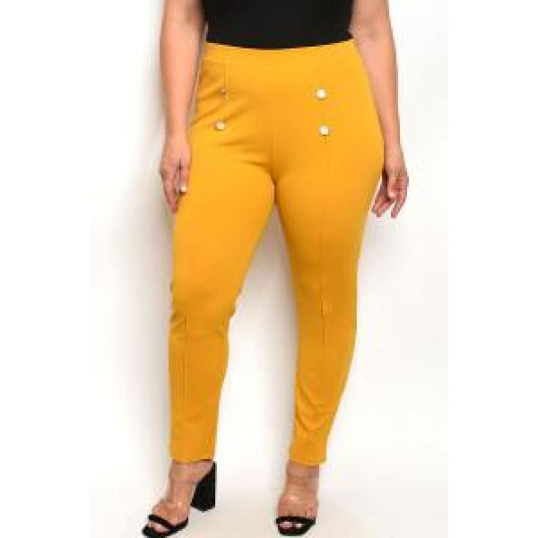Mustard Button Detail Plus Leggings - Leggings