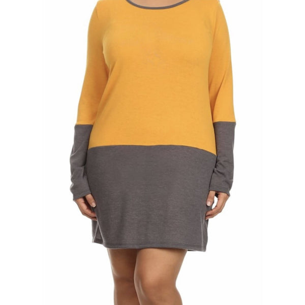 Mustard Color Block Sweater Dress Plus - DRESSES