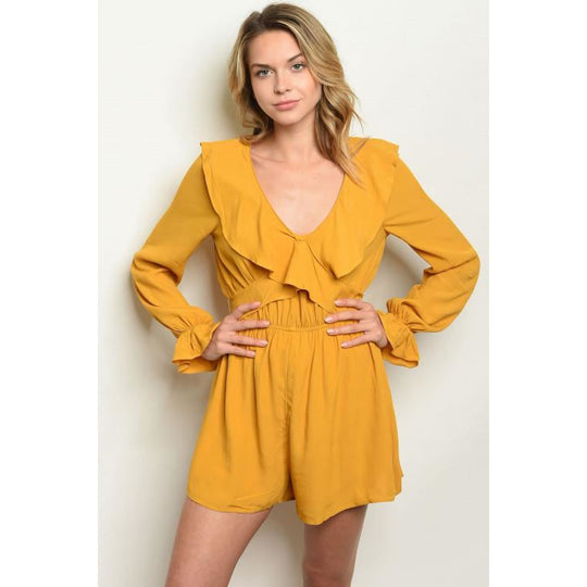 Mustard Long Sleeve Romper - Best YOU by HTS