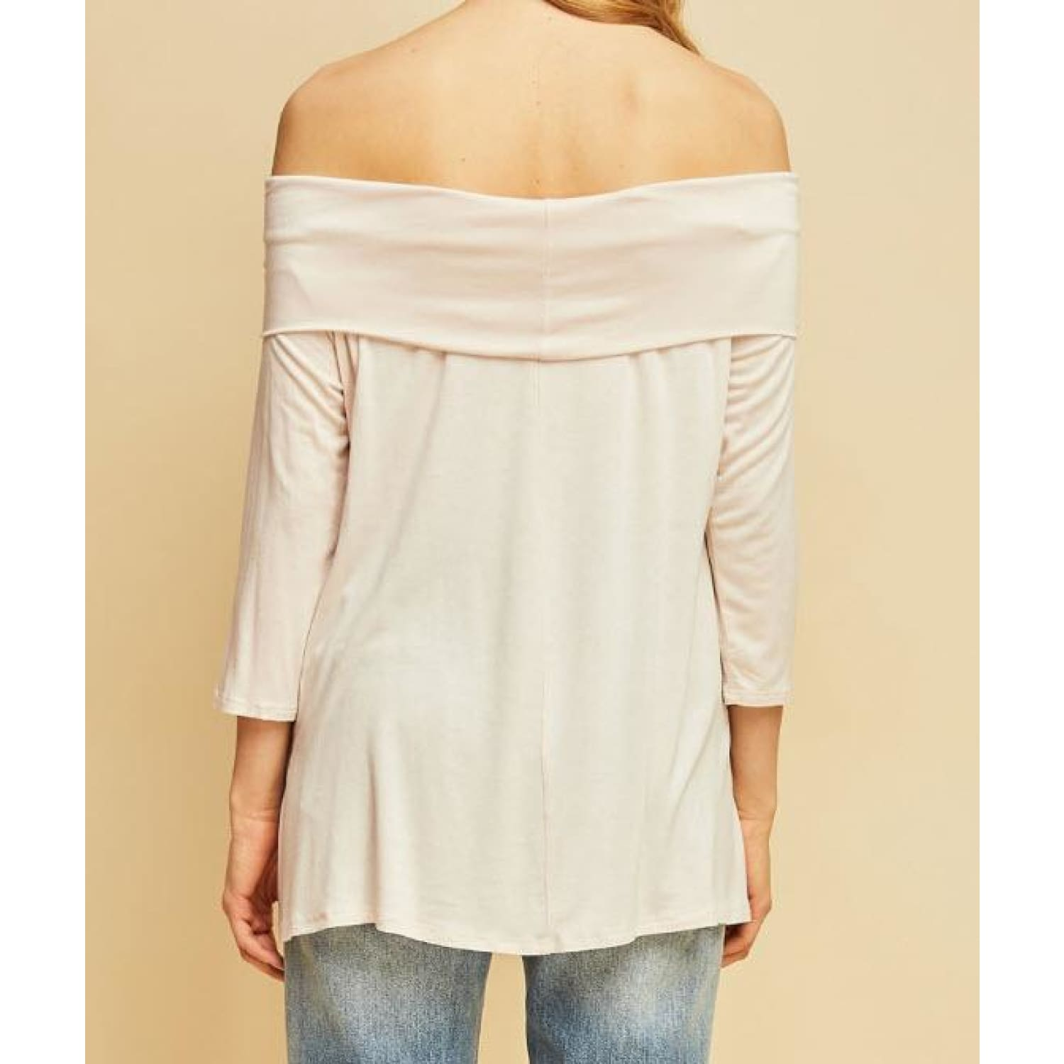Natural Off Shoulder Top - TOPS