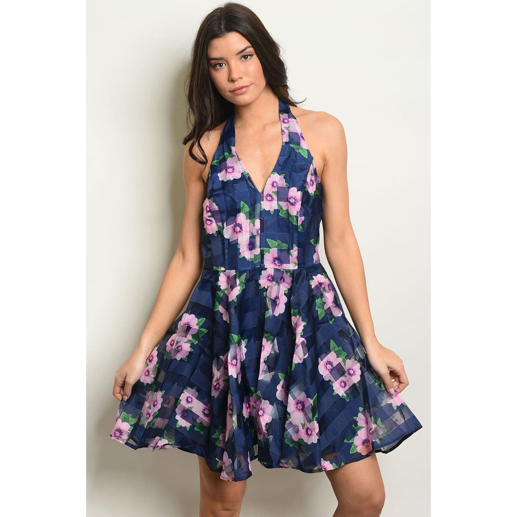 Navy and Purple Floral Dress - Best YOU by HTS