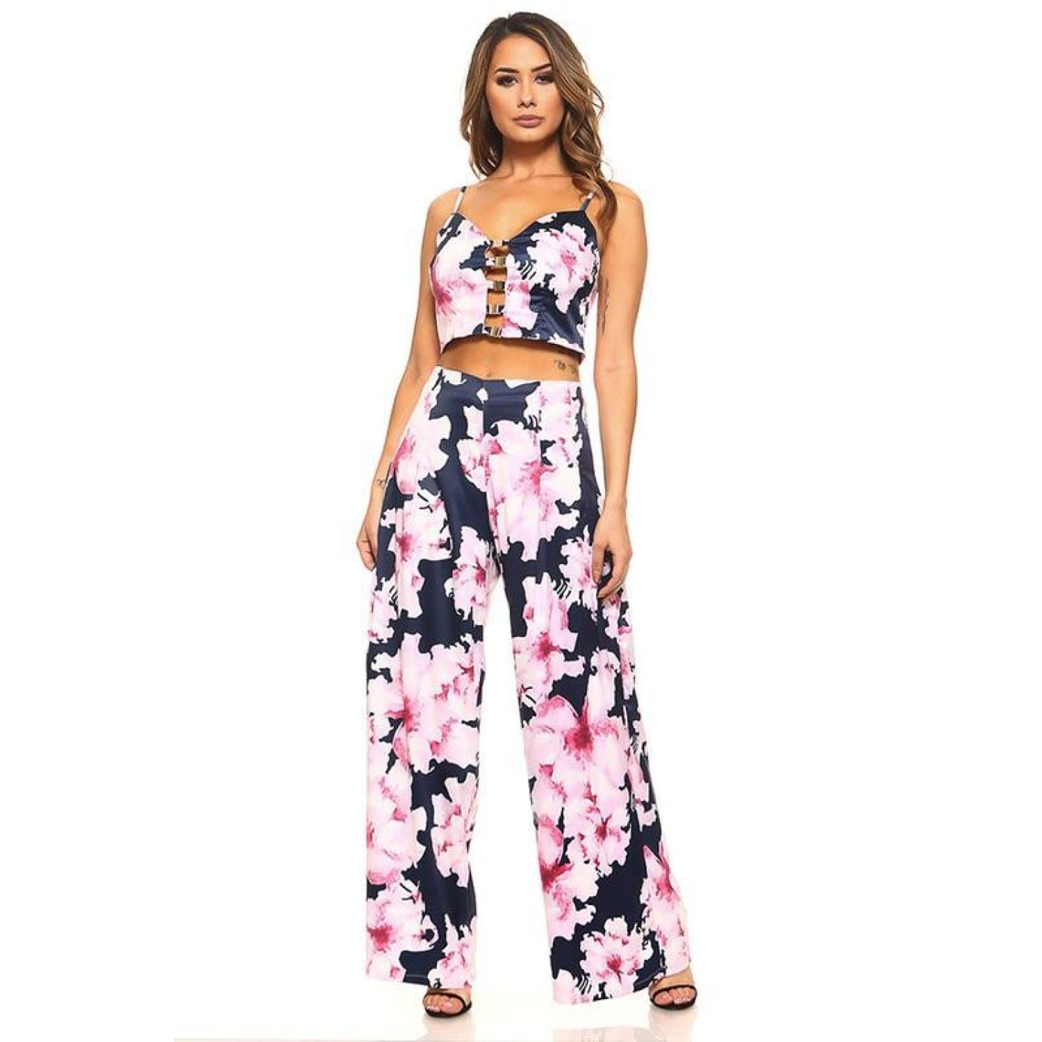 Navy Floral Crop Top and Pants Set - Best YOU by HTS