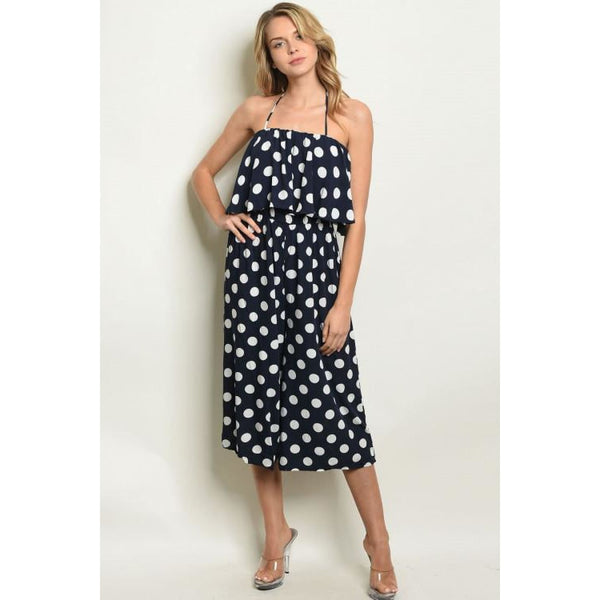 Navy Halter Polka Dot Jumpsuit SMALL - Best YOU by HTS