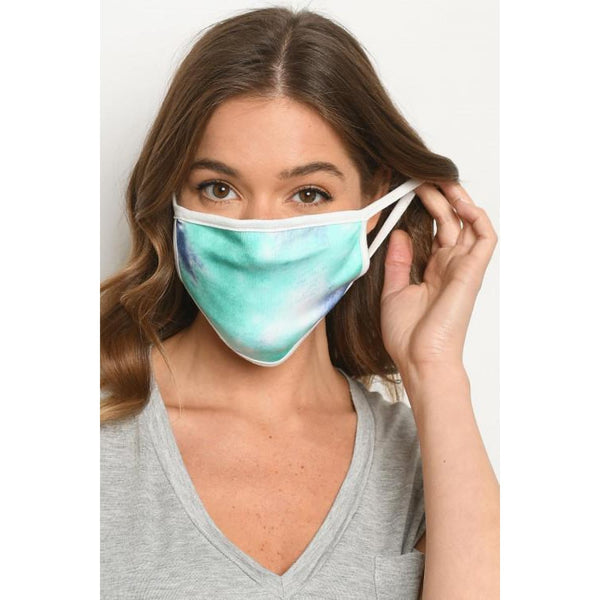 Navy Mint Dye Print Mask - Accessories