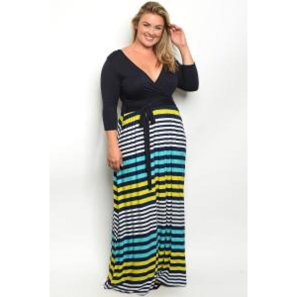 Navy Stripes Plus Maxi Dress - DRESSES
