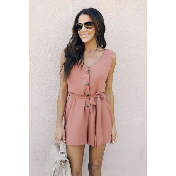 Pink Buttoned Up Belted Romper - Best YOU by HTS
