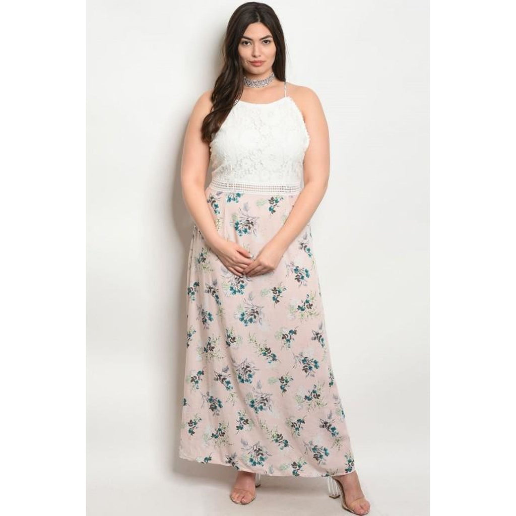 Pink Floral Lace Plus Maxi Dress - Best YOU by HTS