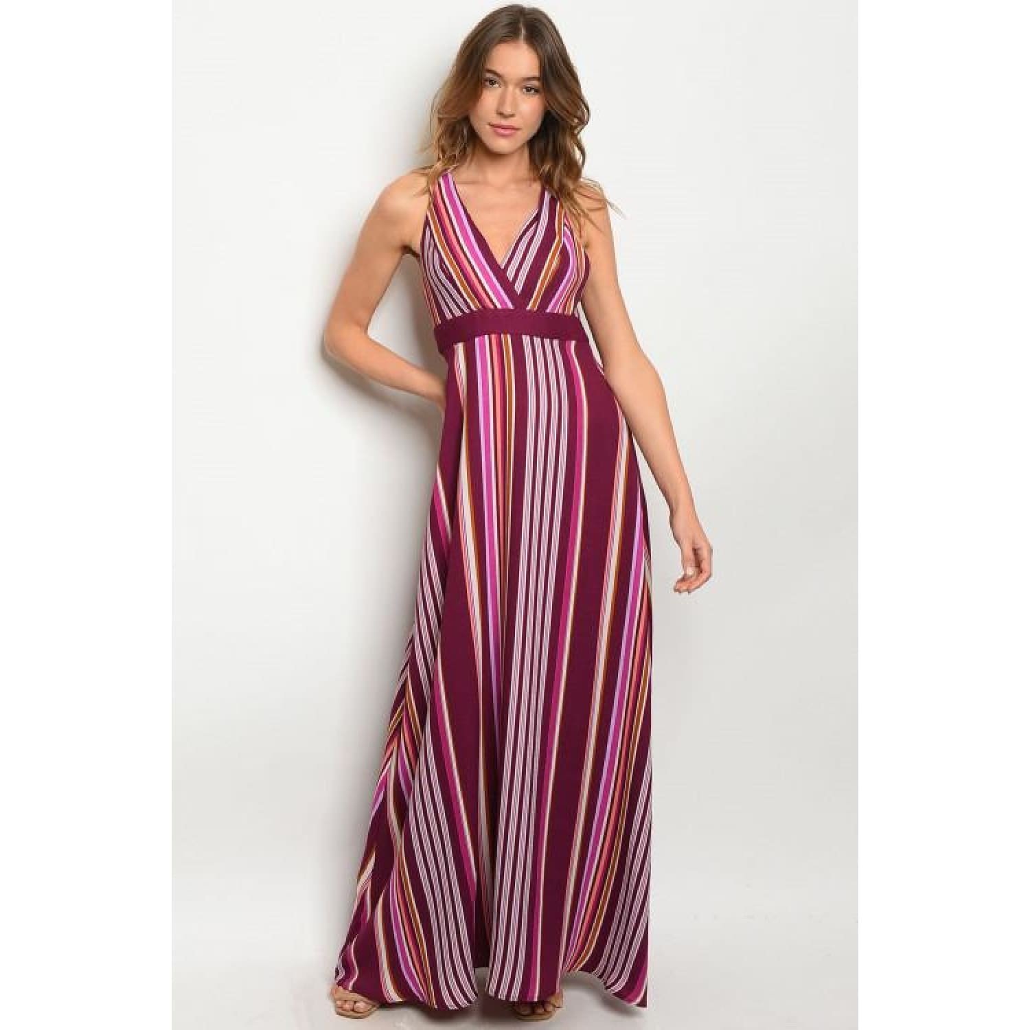 Plum and Lavender Maxi Dress - DRESSES