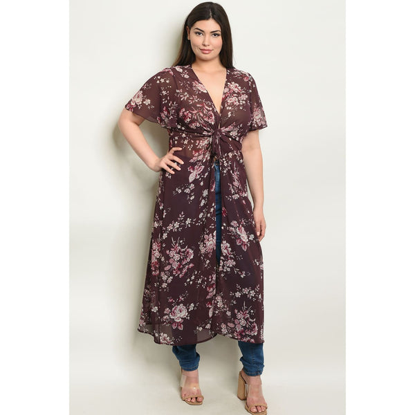 Plum Floral Plus Kimono Top - Best YOU by HTS