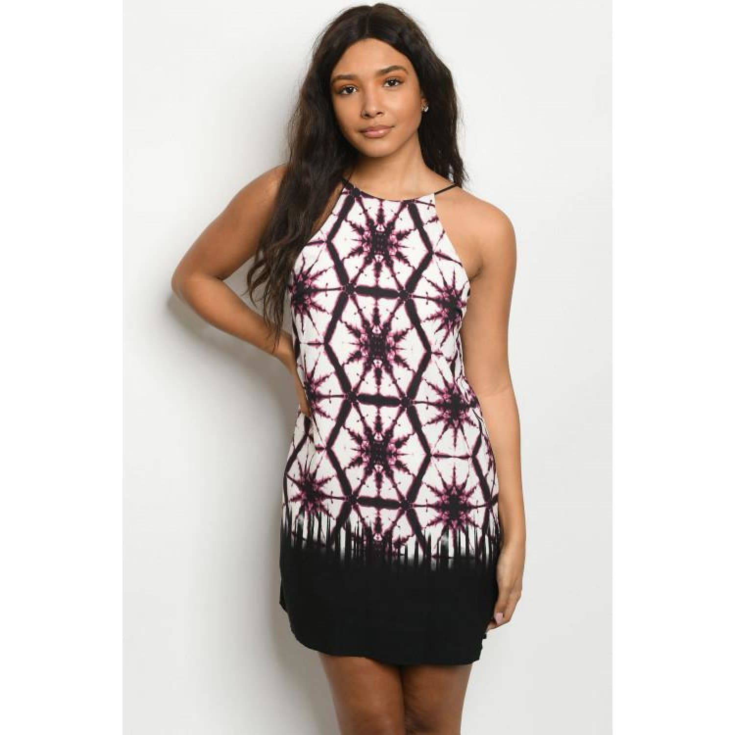 Plum Print Dress - DRESSES