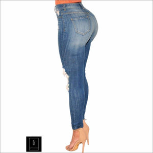 PLUS Denim Ripped High Waist Skinny Jeans - Best YOU by HTS