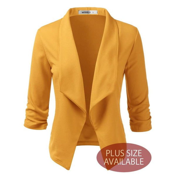 Plus Open Front Blazer Jacket - TOPS