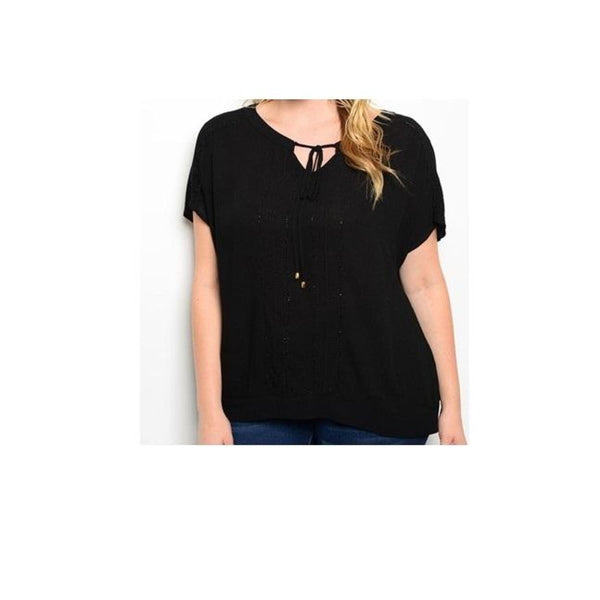 Plus Size Black Tie-Front Top - Best YOU by HTS