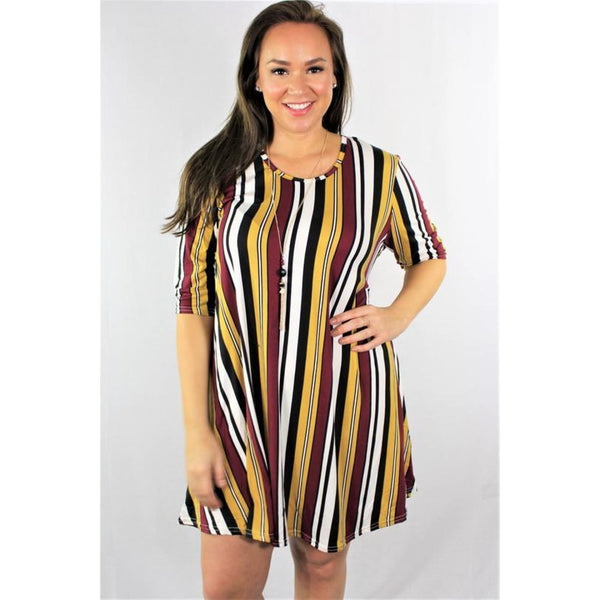 Plus Striped Trapeze Dress Burgundy - DRESSES