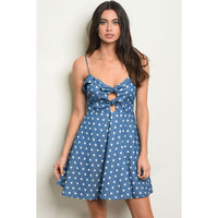 Polka Dot Tie Front Dress - Blue - Best YOU by HTS