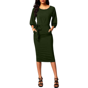 Puff Sleeve Pencil Dress - Army Green - Best YOU by HTS