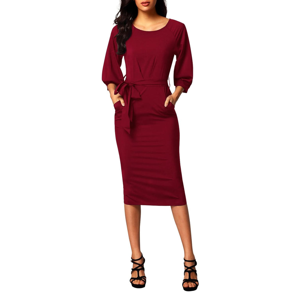Puff Sleeve Pencil Dress - Burgundy - Best YOU by HTS