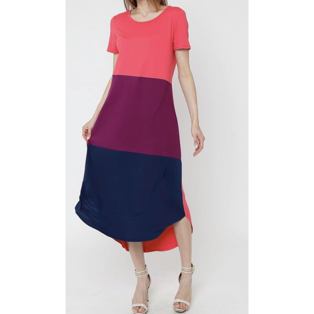 Regular Or Plus Coral Color Block Maxi Dress - Best YOU by HTS