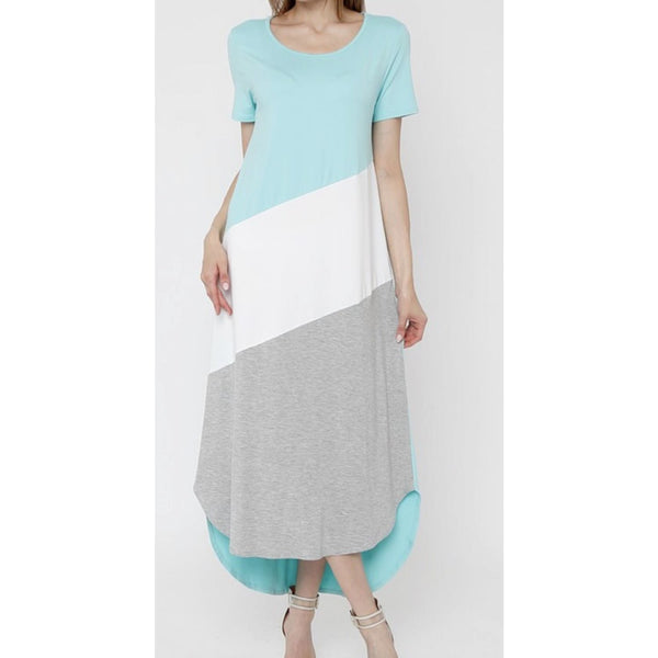 Regular Or Plus Mint Color Block Maxi Dress - Best YOU by HTS