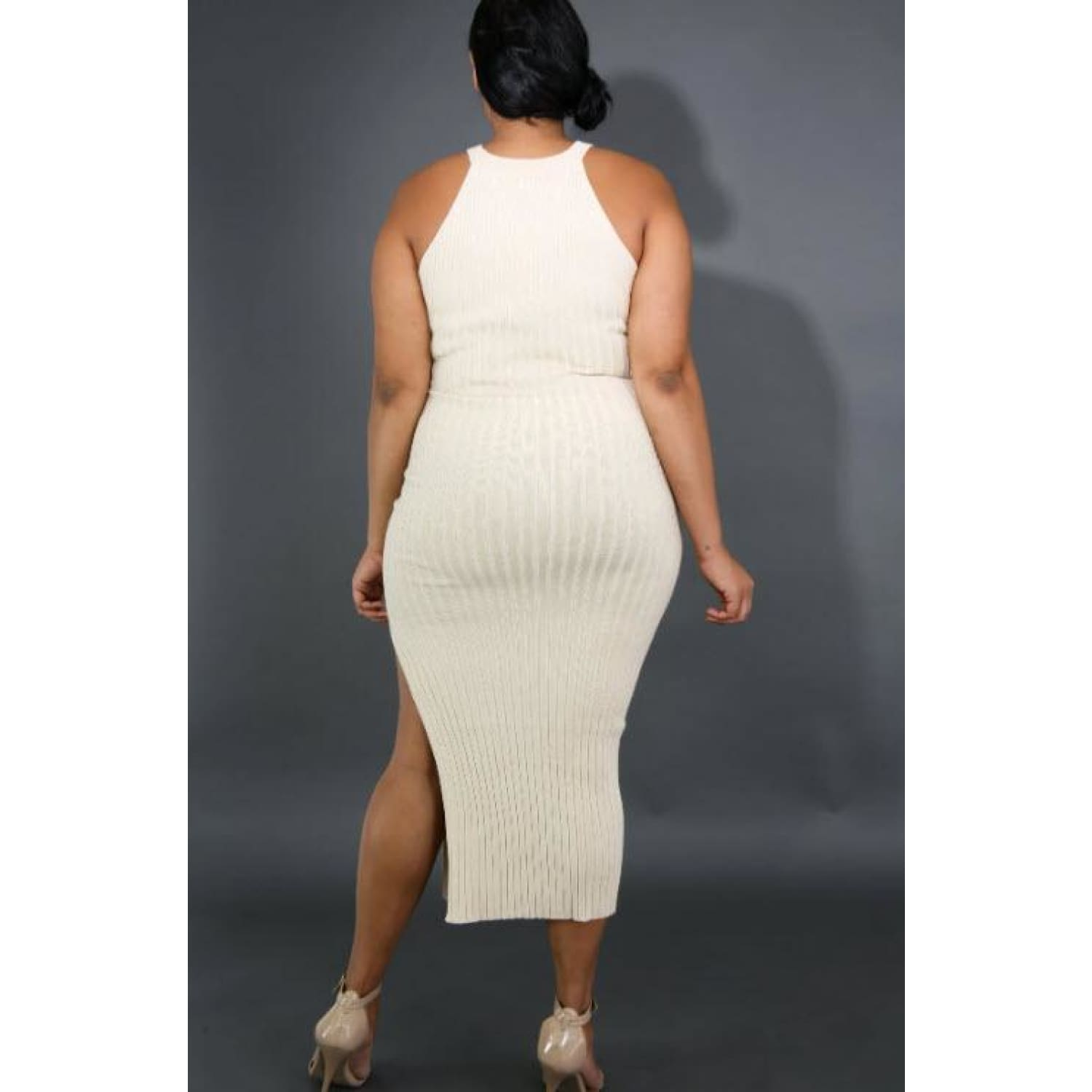 Ribbed and Curvy Plus Dress - DRESSES