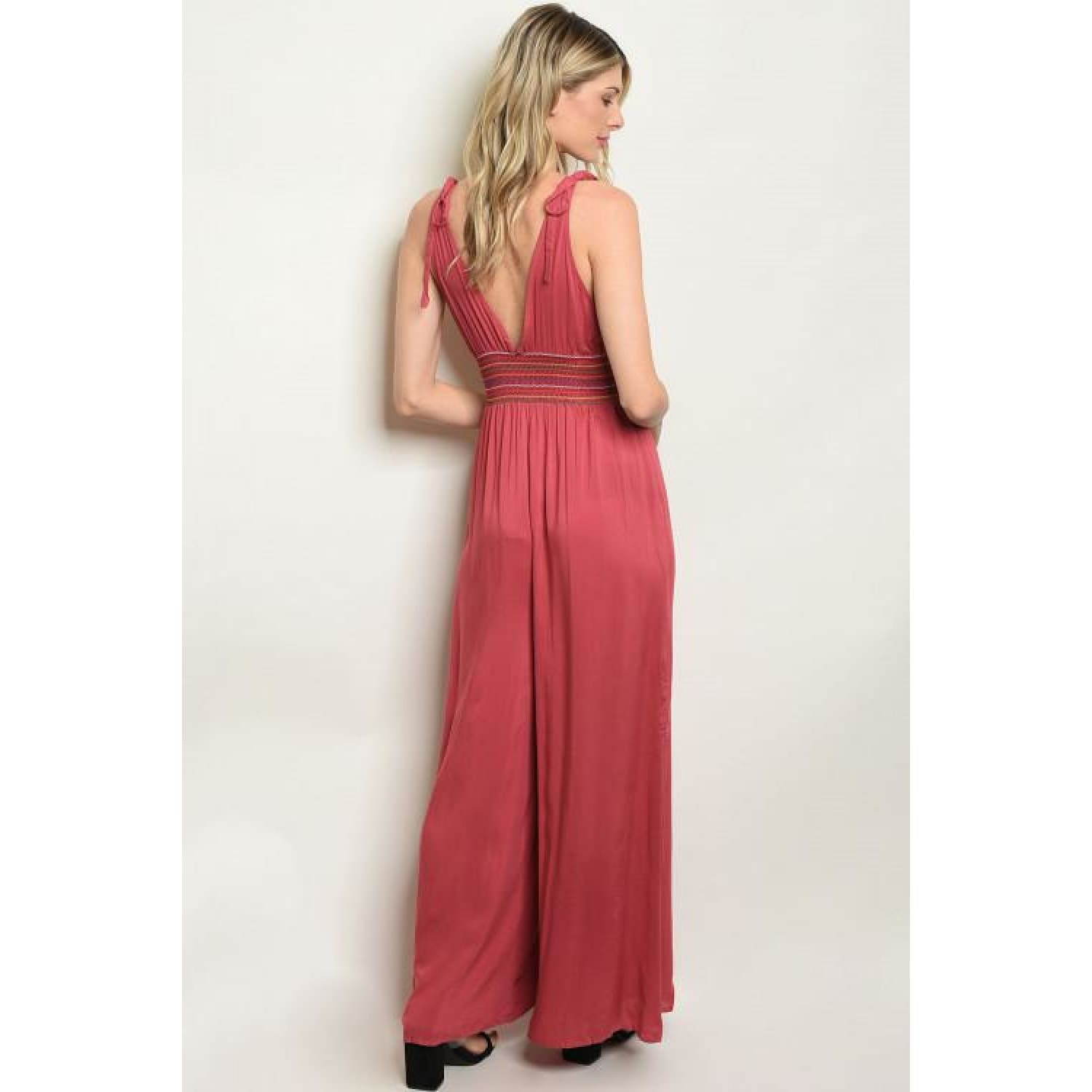 Rose Wide Leg Waist Design Jumpsuit - Best YOU by HTS